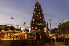 圣诞树在多特蒙德在德国 库存图片