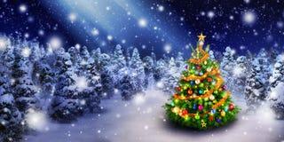 圣诞树在多雪的夜 免版税库存照片