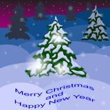 圣诞树在森林里 免版税库存照片