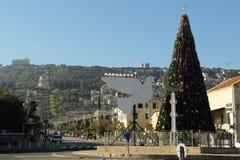 圣诞树在海法,以色列 2016年1月1日 免版税库存图片