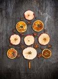 圣诞树在灰色纹理做了干苹果、桔子和茴香 免版税图库摄影