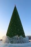 圣诞树在电烫冰镇 库存图片