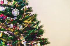 圣诞树在白色墙壁背景站立 库存照片