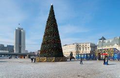 圣诞树在符拉迪沃斯托克中心广场  免版税库存图片