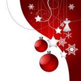 圣诞树在红色的装饰背景 库存图片