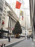圣诞树在财政区 免版税库存照片