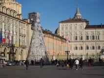 圣诞树在都灵 免版税库存图片