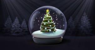 圣诞树在黑暗的夜森林动画的雪球降雪 库存例证