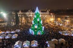 圣诞树在维尔纽斯 免版税库存照片