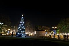 圣诞树在索非亚,保加利亚 免版税库存图片