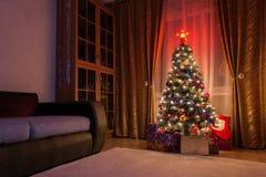 圣诞树室 免版税库存图片