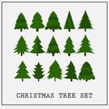 圣诞树平的绿色收藏 库存照片