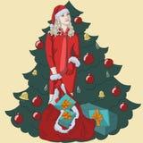 圣诞树幸福箱子年微笑的新的圣诞树人民提出圣诞老人庆祝冬天白孩子愉快的妇女 免版税库存照片