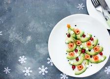 圣诞树开胃菜鲕梨三文鱼沙拉鞑靼的ceviche, f 图库摄影