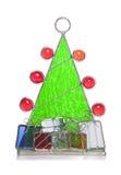 圣诞树彩色玻璃装饰品 免版税库存图片