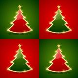 圣诞树无缝的模式 免版税库存图片