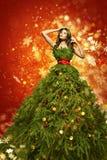 圣诞树时尚礼服,妇女艺术Xmas褂子,新年女孩 免版税库存照片