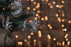 圣诞树有轻的背景 免版税库存图片