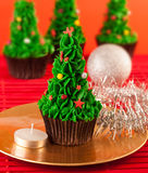 圣诞树杯形蛋糕 库存照片