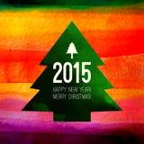 圣诞树标志 五颜六色的水彩 库存照片