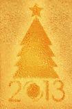 圣诞树水晶金黄背景 免版税图库摄影