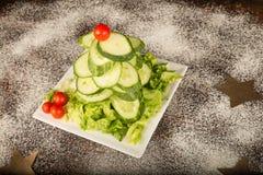 圣诞树沙拉开胃菜 免版税库存照片
