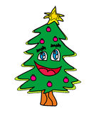 圣诞树漫画人物 图库摄影