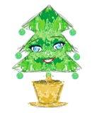 圣诞树漫画人物 免版税库存图片