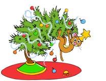 圣诞树猫 免版税库存图片