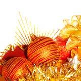 圣诞树球边界 免版税库存照片