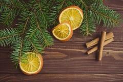 圣诞树用干桔子和桂香 库存照片
