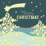 圣诞树由与上面大星飞行的星制成 在深绿背景的传染媒介例证 快活的圣诞节 图库摄影
