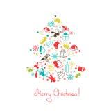 圣诞树由元素做成 库存例证
