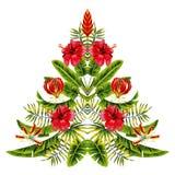圣诞树由异乎寻常的热带花和棕榈叶做成 免版税库存照片