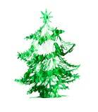 圣诞树由水彩作用做成 设计要素例证图象向量 概念标志 库存图片