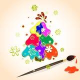 圣诞树由油漆做成多彩多姿的斑点在纸、雪花和刷子与油漆 的圣诞节的传染媒介例证 图库摄影