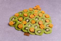 圣诞树由猕猴桃和金桔制成 图库摄影