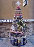 圣诞树由瓶制成在中国北京 库存照片