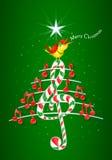 圣诞树由红色音符做成,糖果型钢高音谱号和黄色鸟唱歌和标题:圣诞快乐 免版税库存照片