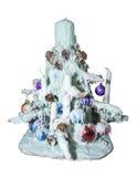 圣诞树由蜡烛和蜡制成 免版税库存照片