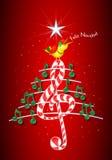 圣诞树由绿色音符做成,糖果型钢高音谱号和黄色鸟唱歌和标题:FELIZ NAVIDAD 免版税库存照片