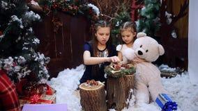 圣诞树的两个妹礼物为祖母做准备 愉快的女孩和家庭 股票录像