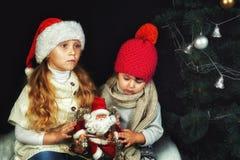 圣诞树的两个温暖的毛线衣的孩子,女孩和帽子 免版税图库摄影