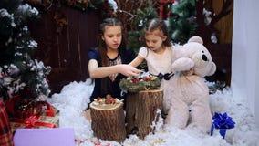 圣诞树的两女孩礼物为祖母做准备 股票录像