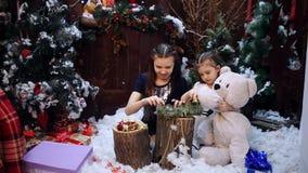 圣诞树的两女孩礼物为祖母做准备 影视素材