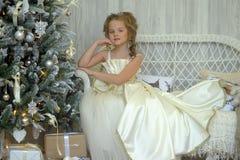 圣诞树的冬天公主 免版税库存照片