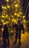圣诞树的圣诞老人 免版税图库摄影