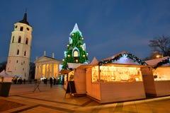 圣诞树的夜视图在维尔纽斯 库存图片