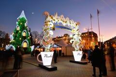 圣诞树的夜视图在维尔纽斯 库存照片