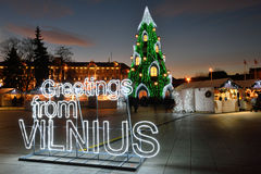 圣诞树的夜视图在维尔纽斯 免版税图库摄影